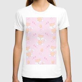 Happy Birthday Orange Fox Pink Background Pattern T-shirt