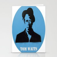 tom waits Stationery Cards featuring Tom Waits Record Painting by All Surfaces Design