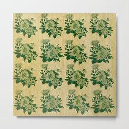 Green rustic floral pattern Metal Print