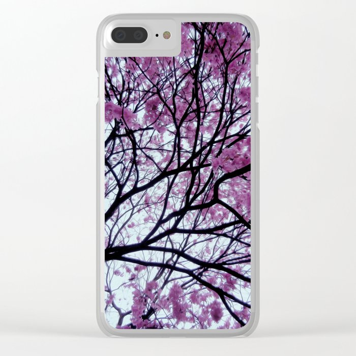 Exotic pink - tropical trees Clear iPhone Case