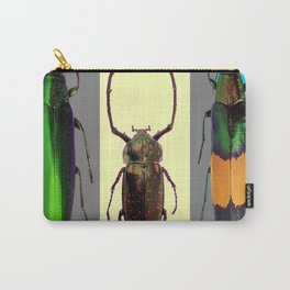 BEETLES ON CREAM & GREY  ABSTRACT ART Carry-All Pouch