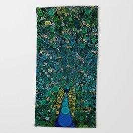 :: Peacock Caper :: Beach Towel