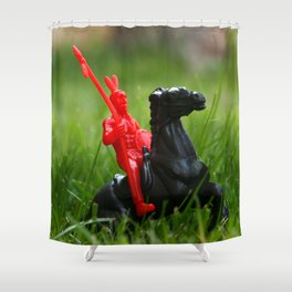 Red Indian on a Black Horse in the Green Grass Shower Curtain
