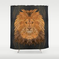 lion king Shower Curtains featuring King Lion by ArtLovePassion