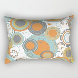 Retro Mid Century Modern Circles Geometric Bubbles Pattern Rectangular Pillow