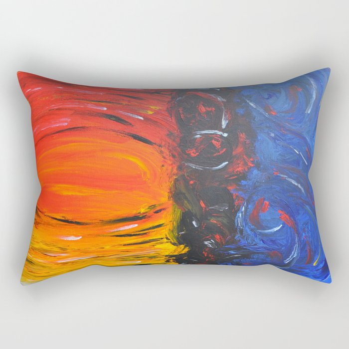 RED AND BLUE AND WARM AND COOL ABSTRACT Rectangular Pillow