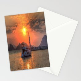 Lighthouse And Yacht Sunset Stationery Cards