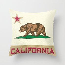 Vintage California Flag Throw Pillow