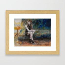 she on sofa Framed Art Print