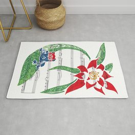 Coqui   (South American Poison Dart Frog with flower on sheet music) Rug