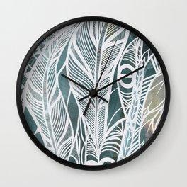 Feathery Design in Emerald Green Wall Clock
