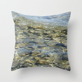 River Rocks - Serene Cool Flowing Water over Beach Stones Throw Pillow