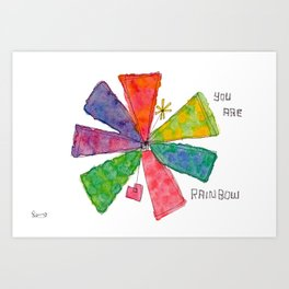 You Are Rainbow flower illustration floral pattern colorful abstract painting peaceful equality Art Print