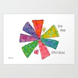 You Are Rainbow flower illustration floral pattern self-love pride Art Print