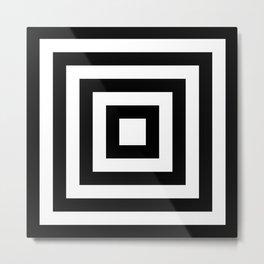 Classic Black White Squares Metal Print