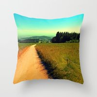 hiking Throw Pillows featuring Hiking on a hot afternoon by Patrick Jobst