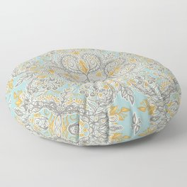 Gypsy Floral in Soft Neutrals, Grey & Yellow on Sage Floor Pillow