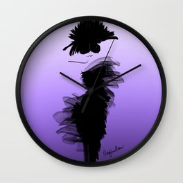 Fashion model in little black dress and violet Wall Clock