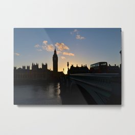 London Sunset Silhouette Metal Print
