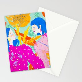 Girls Hanging Out in Garden Stationery Cards