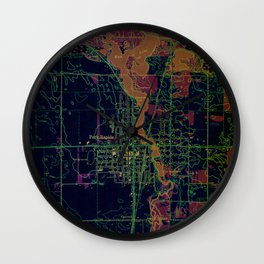 Park Rapids old map year 1969, united states old maps, colorful art Wall Clock