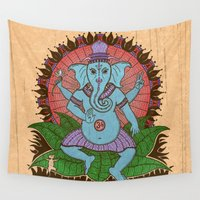 ganesh Wall Tapestries featuring peace ganesh by Peter Patrick Barreda