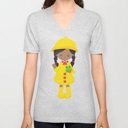 African American Girl, Yellow Raincoat, Frog Unisex V-Neck