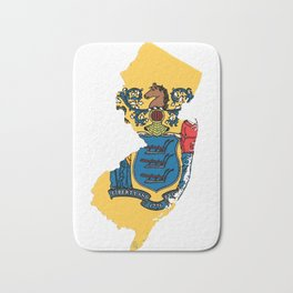 New Jersy Map with State Flag Bath Mat