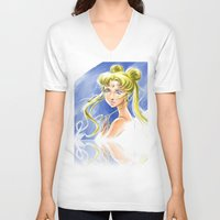sailormoon V-neck T-shirts featuring Princess Serenity by Keith Gutierrez