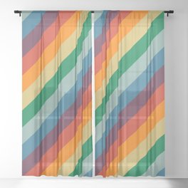 Retro Rainbow Stripes Sheer Curtain
