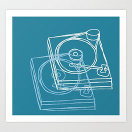 Blue Record Player Art Print