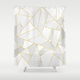 White Stone Shower Curtain