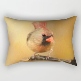 Female Cardinal Excited for Spring Rectangular Pillow