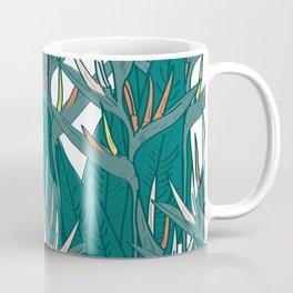 tropical strelitzia flowers leaf sketch, black contour pink coral yellow green. simple ornament Coffee Mug