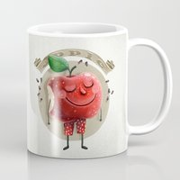 apple Mugs featuring Apple by Lime