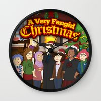 fangirl Wall Clocks featuring A Very Fangirl Christmas by Leigh Lahav