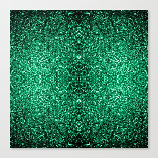 Beautiful Emerald Green glitter sparkles Canvas Print