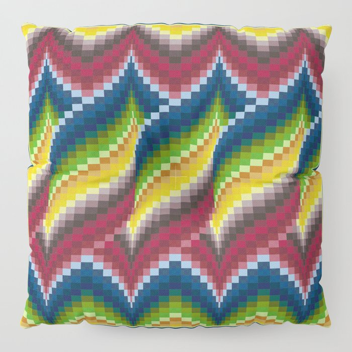 Bargello Quilt Pattern Impression 3 - red, blue, green, gold, ombre Floor  Pillow