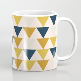 This Way. Geometrical Triangle Pattern in Mustard Yellow, Navy Blush, and Blush Pink Tones Coffee Mug