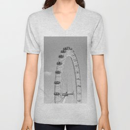 The London Eye (Black and White) Unisex V-Neck