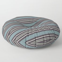Blue-Green Beige Purple Horizontal Line Pattern 2021 Color of the Year Aegean Teal and Accent Shades Floor Pillow