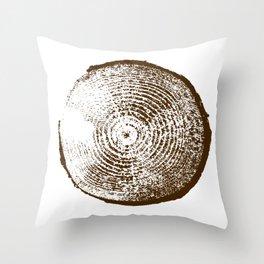 Tree Stump Brown Throw Pillow