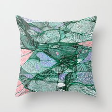 Drops in the Green Cell  Throw Pillow