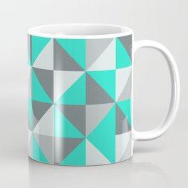 Aqua and Grey Retro Inspired Pattern Coffee Mug