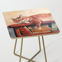 Red cat on a bookshelf Side Table