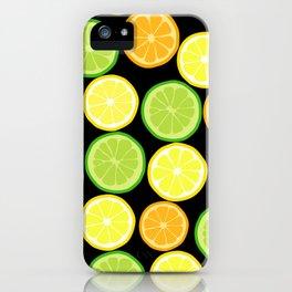 Citrus Slices on Black iPhone Case