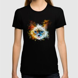 blue eyes ragdoll cat splatter watercolor T-shirt