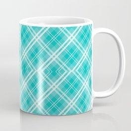 Blue & White Diagonal Plaid Scottish Clan McTiffany Coffee Mug