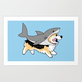 Another Corgi in a Shark Suit Art Print