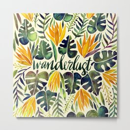 Tropical Wanderlust – Orange & Emerald Metal Print